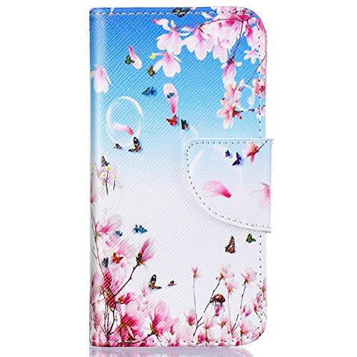 kompatibel mit Huawei Y5 II Hülle,Huawei Y6 II Compact Lederhülle,Huawei Y6 II Compact Tasche Leder Flip Hülle Brieftasche,Gelmat Muster Handyhülle Schutzhülle für Huawei Y5 II (Rosa Pfirsichblüte)