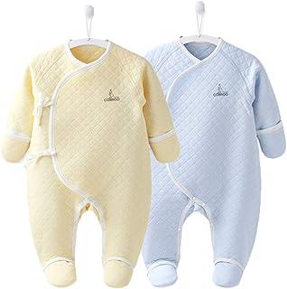 COBROO 100% Cotton Newborn Sleeper Baby Footed Pajamas with Mittens Newborn PJs Winter Unisex