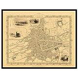Old Maps Library Vintage Reproduktion Karte von Kork 1851