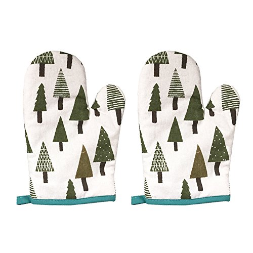 RocHouse Oven Mitts Heat Resistant up 450 ?F, Kitchen Gloves,Non-Slip Grip Potholders, Cooking Gloves,Microwave BBQ Baking Gloves,Stylish Design, 100% Cotton,Set of 2 (Chritmas Tree), Gift