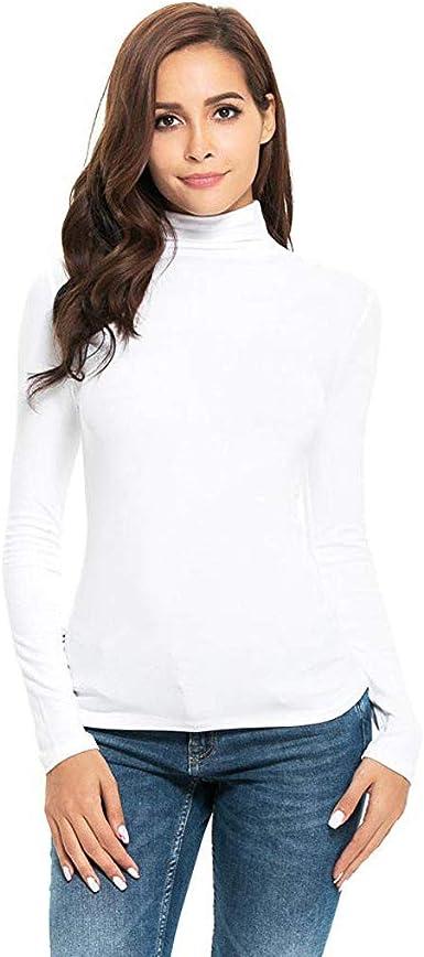 Manga Larga de Las Mujeres Slim Cuello Alto Color sólido cálido y cómodo Camiseta de algodón Camisa de Camisa Camisa de Fondo otoño e Invierno riou