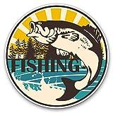 Pegatinas de vinilo (juego de 2) 10 cm – Pesca peces trucha carpa calcomanías para portátiles, tabletas, equipaje, chatarra, neveras, 9541