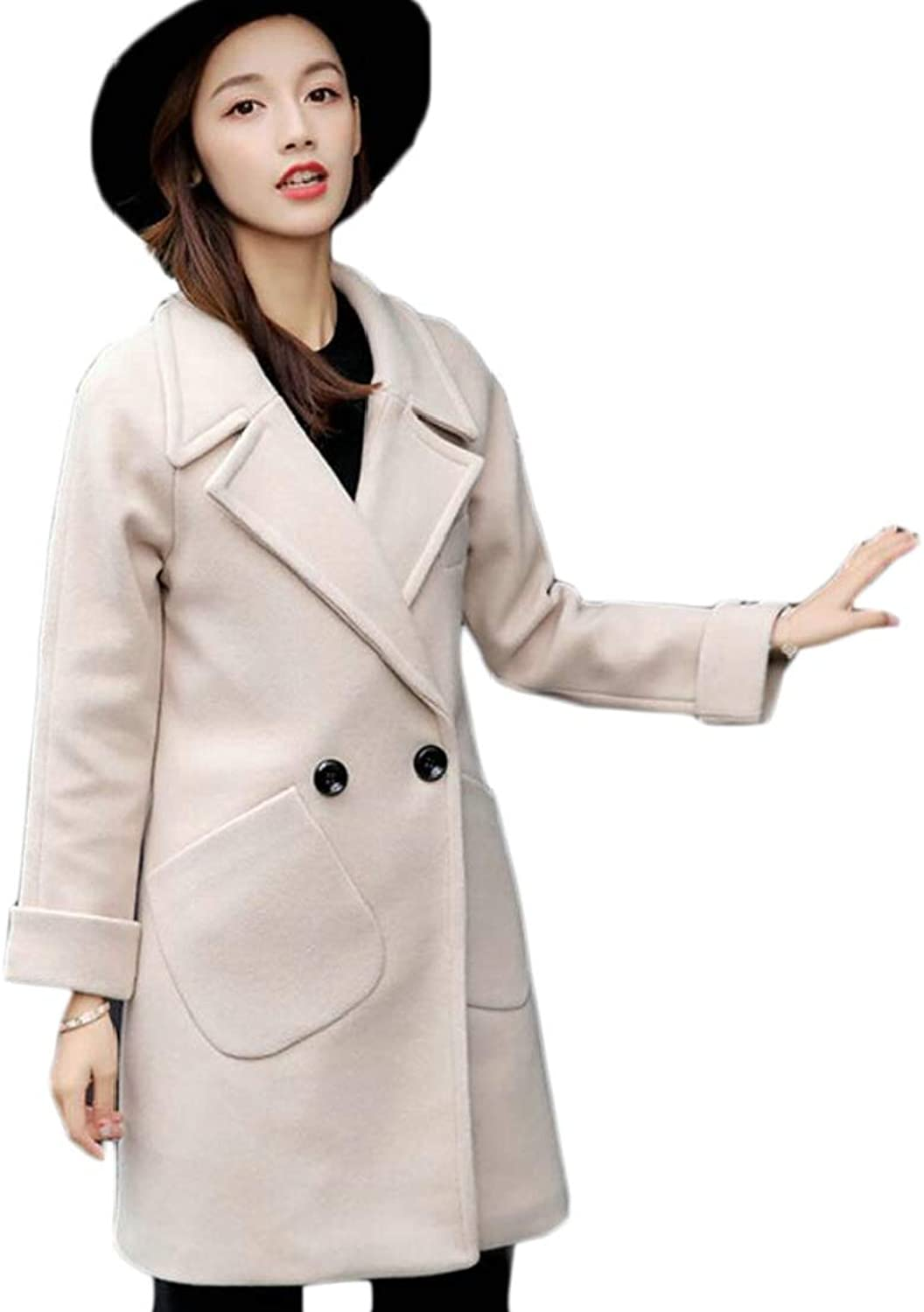 Generic Women's Winter DoubleBreasted Long Jackets Wool Trench Coat