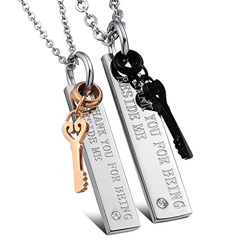 Matching Couples Necklace Titanium Stainless Steel 'THANK YOU FOR BEING BESIDE ME' Key to Heart Pendant Set for Men Women with Curb Chains