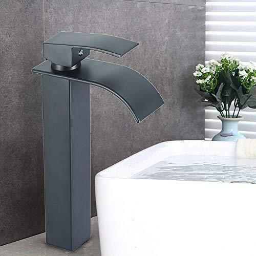 Grifo de pie, color negro mate, grifo alto, monomando, altura 29,8 cm, control de frío y caliente, con manguera de conexión.