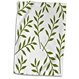 3D Rose Olive Green and White Chic Leaves Towel, 15' x 22', Multicolor