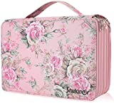 Shulaner 250 Slots Colored Pencil Case with Zipper Closure Large Capacity Oxford Pen Organizer Pink Rose Pencil Holder for Student or Artist Pink Rose