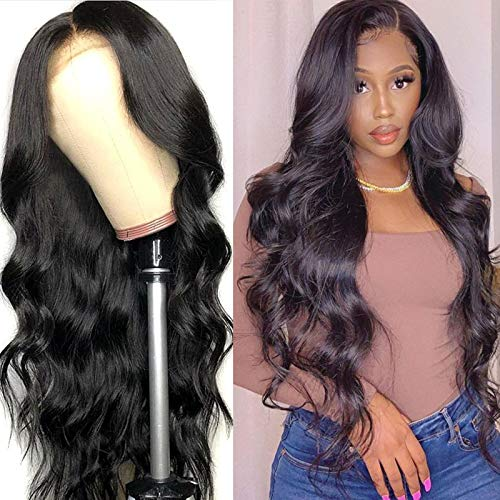 Human Hair Lace Front Wigs, 4x4 Body Wave Lace Wigs Human Hair, 150% Density Brazilian Virgin Human Hair Lace Closure Body Wave Wigs for Woman, Natural Color 24 Inch