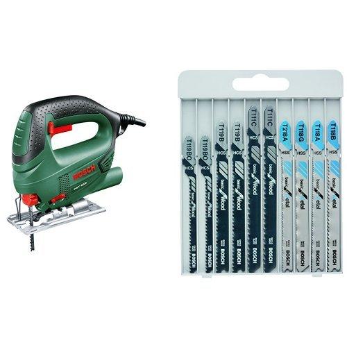 Bosch 0.603.3A0.700 Sierra de calar con maletín 240 V, Negro/Verde 500 W & 2607010630 - Hojas de sierra de calar Basica para Metal y Madera - Juego de 10 unidades