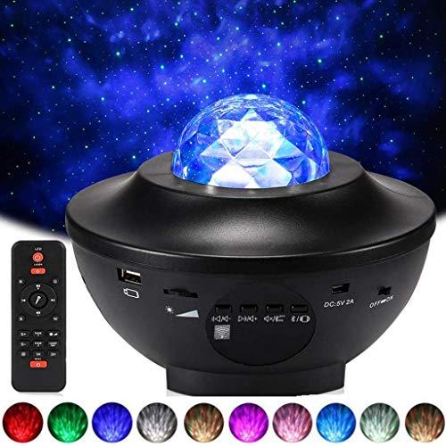 YunLone Lampada Proiettore Stelle con Altoparlante Bluetooth Lampada musicale con telecomando, 21 modalità Colore Luce Rotante Nebulosa Dimmerabili Galassia Luce,Lampada Proiettore Oceano