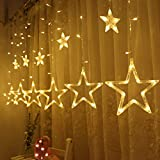Twinkle Star 12 Stars 138 LED Curtain String Lights, Window Curtain Lights with 8 Flashing...
