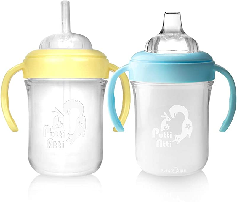 Putti Atti Baby Bottle Sippy Cup Spout And Straw Type With Handles BPA Free 2 PK 6 8 Fl Oz