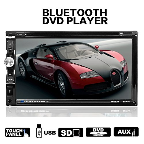 Lling (TM) double DIN HD en voiture stéréo lecteur DVD radio Video Audio Bluetooth Écran tactile 17,7cm, SD, USB, Radio FM, prise en charge avec télécommande