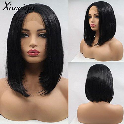 Xiweiya Perruques synthétiques raides et soyeuses pour femme noire, coupe courte, dentelle sur le devant, raie au milieu, fibre de cheveux résistante à la chaleur, 35,6 cm