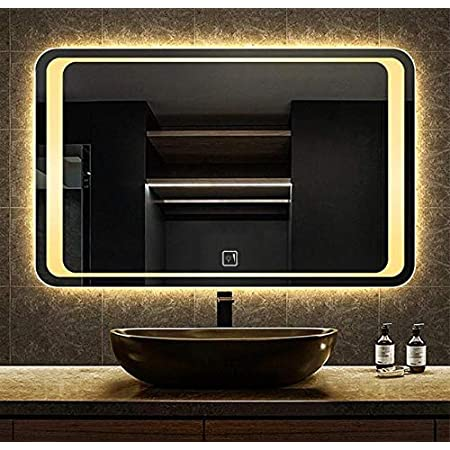 Glam Glass LED Bathroom Mirror with Warm White Light-Wall Mounted Backlit- 24 x 18 Inch