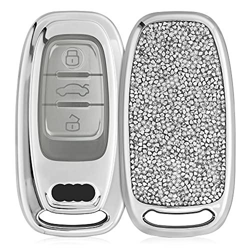 kwmobile Autoschlüssel Hülle kompatibel mit Audi 3-Tasten Autoschlüssel Keyless - Hardcover mit Strasssteinen - Silber