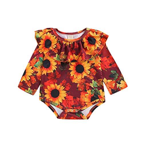 Voberry- Combinaison bébé col tournesol imprimé soleil Body bébé à manches longues imprimé tournesol (3M-18M)