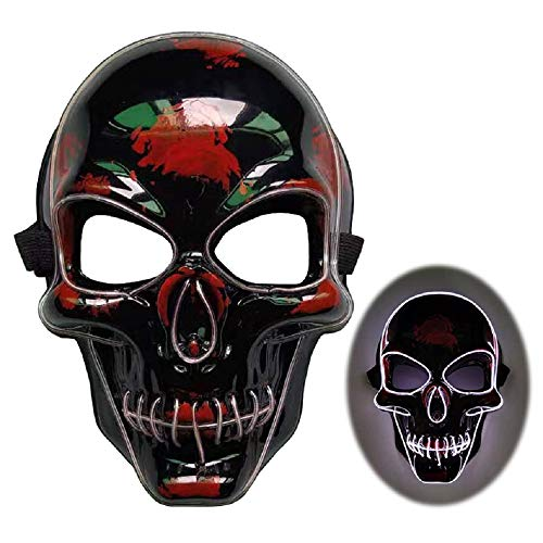 QINQI Halloween LED Leuchtmaske Totenschädel Maske EL Wire Maske Fasching Party Karneval Rollenspiel