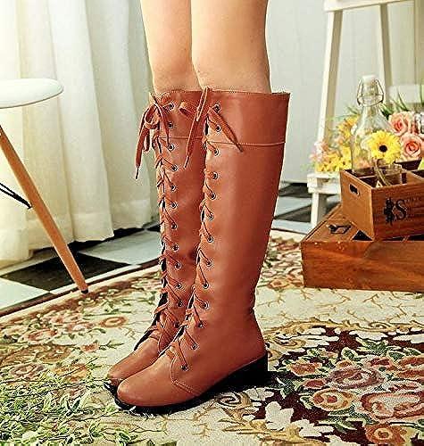 AVBGT Big Code Stiefel College High Stiefel Martin Stiefel Big Größe Woherren Stiefel, schwarz, Treinta y Siete