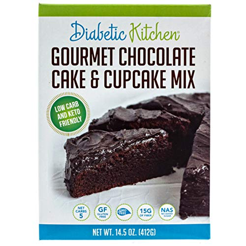 Diabetic Kitchen Keto Chocolate Cake Mix - Keto Friendly Low Carb Cupcakes - No Sugar Added, Gluten-Free, 15g of Fiber, Non-GMO, No Artificial Sweeteners or Sugar Alcohols