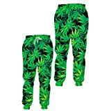 3D Purple Sweatpants Men Women All Over Print Weed Leaf Gym Joggers Trousers Fitness Tracksuit Buttoms Green Weed Leaf Pant 6XL