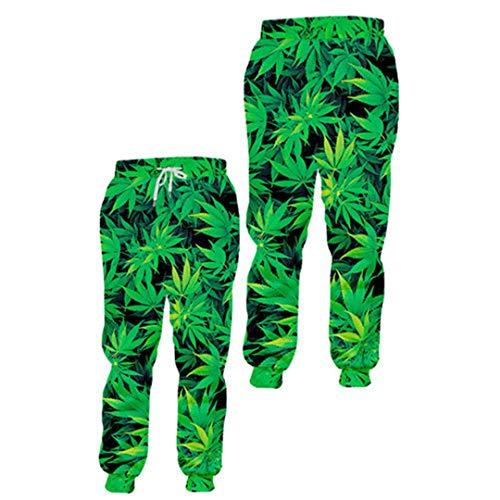 Moda Hombres/Mujeres 2 Piezas de chándal Set Harajuku 3D Verde de la Hoja de cáñamo Malezas Pullover Sudadera + pantalón Pants 6XL