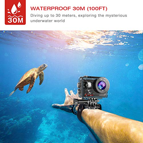 Campark X25 Native 4K 20MP Action Camera EIS Anti-Shaking Wifi Waterproof Cam 30M Underwater Cameras for Vlog 170° with 2 Rechargeable Batteries and Mounting Accessories Kit compatible with gopro