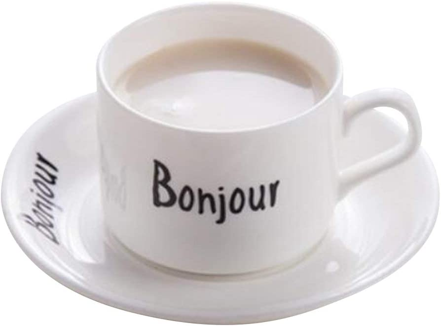 Super beauty product restock quality top! YBK Tech Novelty French Max 65% OFF Words Euro Style Set Cup Saucer Ceramic