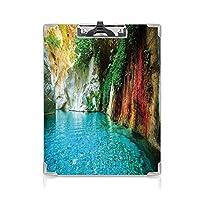 個性的 キングジム:クリップボード カラー A4判タテ型 風景 アイデア多機能メニュー 孤立した自然のラグーンの入り江の澄んだ水湖アイビーカラフルな苔岩サンシャイン多色
