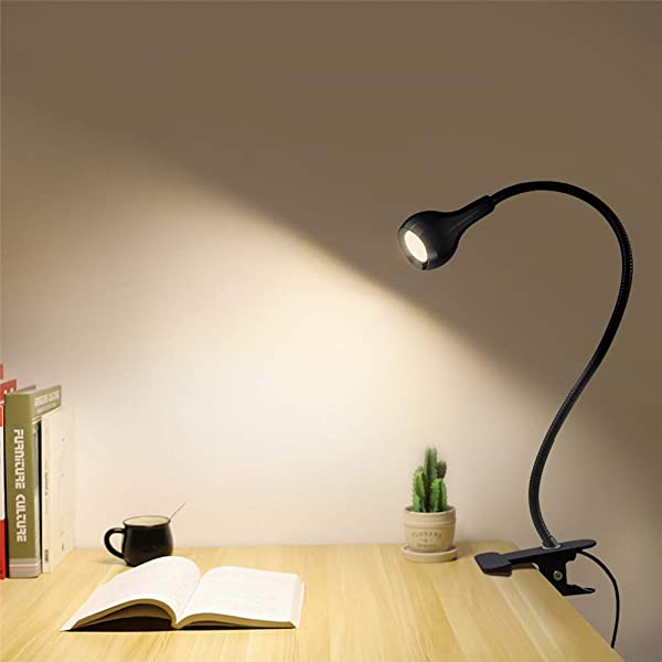 USB LED Table Lamp 1 W Flexible LED Desk Lamp With Holder Clips AIMENGTE 360 Free Bending Soft Light Eye Caring Bed Study Reading Book Lamp Night Lights For Students Workers Black Warm White