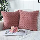 Mandioo Pack of 2 Pink Faux Fur 3D Flower Pattern Fuzzy Cozy Soft Decorative Throw Pillow Covers Set Cushion Cases Pillowcases for Couch Sofa Bedroom Car 18x18 Inches