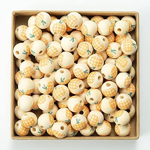 100 cuentas redondas de madera pintadas para Halloween, varios colores de calabaza a cuadros redondos para pulseras, collares, joyas, trenzas de pelo y manualidades (naranja y blanco)