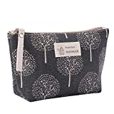 AMOUSTORE Portable Cotton Linen Large Capacity Multifunction Print Cosmetic Bag Travel Makeup Bag Toiletry Bags 8.3 x 5.1inch (Multicolor_F)