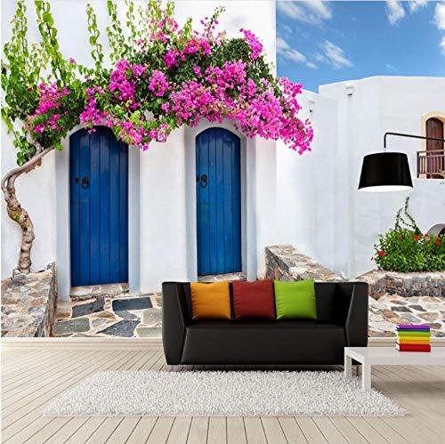 Fotobehang Fotobehang Huis Mediterrane Stijl Fotobehang 3D Griekenland Bouwen Muur Schilderen Restaurant Cafe Slaapkamer Achtergrond Muur Papel De Parede