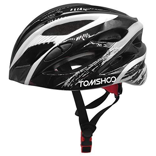 TOMSHOO Fahrradhelm, Helm MTB mit verstellbarer Sicherheitsschnalle Rücklicht abnehmbarer Polsterung, leichter sicherer Fahrradhelm für Erwachsene Herren Damen zum Radfahren Mountainbike Skateboarding
