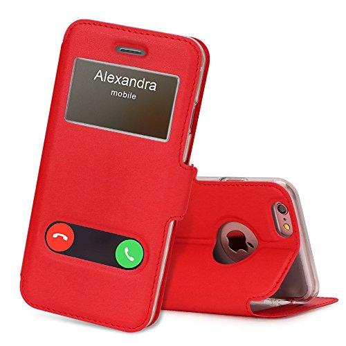 FYY Coque iPhone 6S, Coque iPhone 6, Housse Magnetique Smart View avec Fenêtre d'Ouverture pour Apple iPhone 6S/6 Rouge