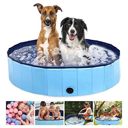 Piscina para perros grandes y pequeños, 160 cm, plegable, para niños y...