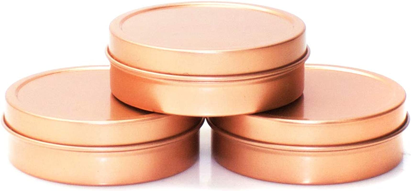 Mimi Pack 2 Oz Tins 24 Pack Of Shallow Slip Top Round Tin Containers With Lids For Cosmetics Party Favors And Gifts Rose Gold