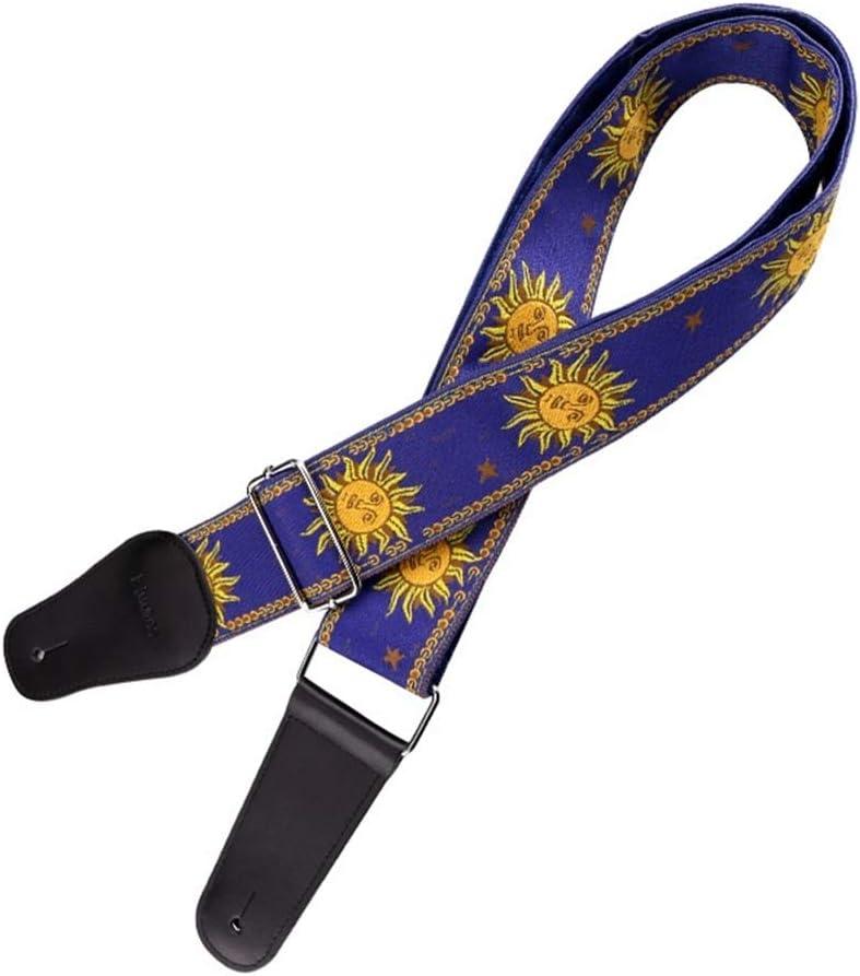 Fazeer Soleil Fleur Broderie Sangle De Guitare Classique Bracelet En Cuir Accessoires De Cha/îne L/ég/ère Pour Guitare /électrique Basse Ukul/él/é