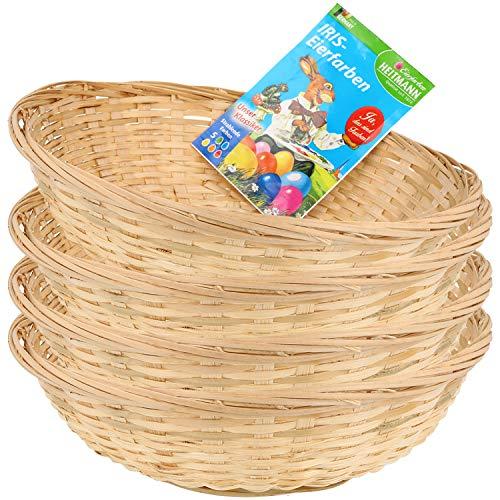 COM-FOUR® 4x raffia-manden en eikleuren als decoratie voor Pasen - paasmand voor het verzamelen van paaseieren - paasmanden - Ø 22 x 7 cm (04 stuks - raffia-mand + eikleur)
