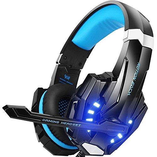 Casco de juego estéreo G9000para PS4, PC, mando de Xbox One, Auricular antirruido con micrófono, luces LED, auriculares de diadema de graves y auriculares azul azul