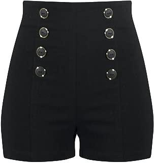 High Waisted Pin Me Up Shorts - Black