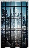 ABAKUHAUS Stadt Schmaler Duschvorhang, New York bei Nacht Landschaft, Badezimmer Deko Set aus Stoff mit Haken, 120 x 180 cm, Schwarz Weiß