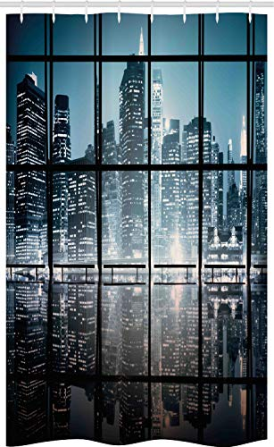 ABAKUHAUS Stadt Schmaler Duschvorhang, New York bei Nacht-Landschaft, Badezimmer Deko Set aus Stoff mit Haken, 120 x 180 cm, Dunkelblau Schwarz