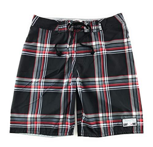 Aeropostale Men's Board Shorts Swim Suit 32 Black Plaid 7184