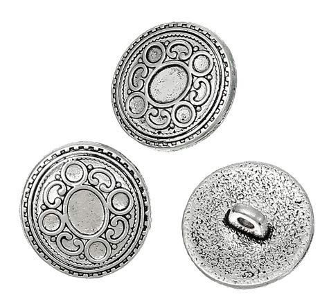 Handarbeit-Lieblingsladen Metallknöpfe Ösenknöpfe 15 Stück mit Kreis-Muster antiksilber Ø ca. 17mm