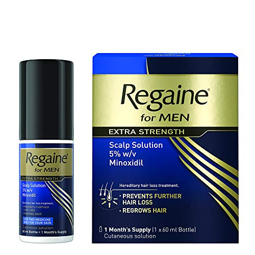 Regaine for Men Extra Strength Hair Regrowth Scalp Solution - Visible Results May Be Seen As Early As 8 Weeks When Used Twice A Day - Hereditary Hair Loss Treatment - 60ml