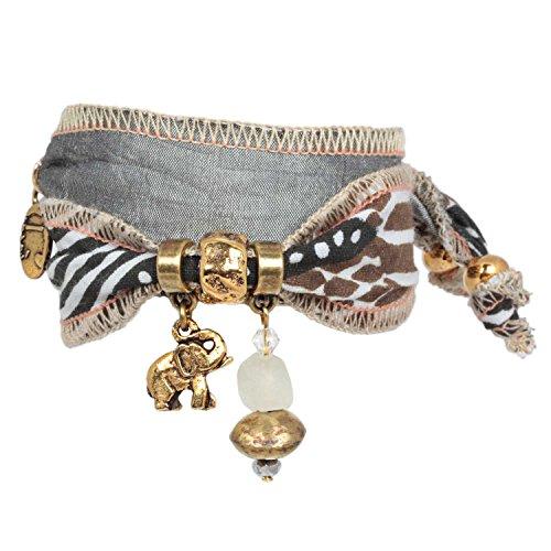 Anisch de la Cara Damen Armband Nature Safari - Tuareg Wickelarmband aus Kudhinda-Stoff Tuareg - ArtNr. 4400-e