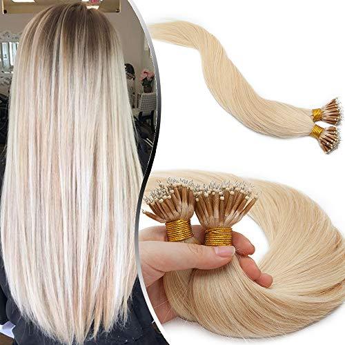 Elailite Microring Extension Capelli Veri Fili Anelli Invisibili 1 Grammo 50 Ciocche 100% Remy Human Hair Naturali con Anellini 55cm 50g #60 Biondo Platino