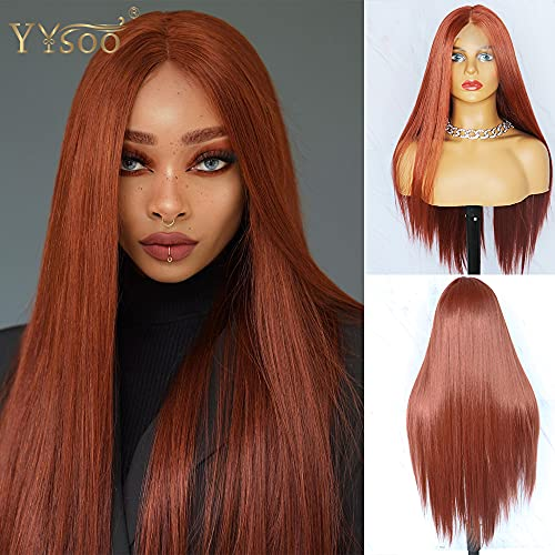 YYsoo 13X6X1 Long Straight T Part Wigs for Women Synthetic Orange Lace Front Wigs with Deep Middle Part Copper Red Japanese Futura Heat Resistant Hair Replacement Wig
